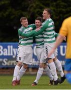 27 April 2013; Anthony Kane, Sheriff YC, celebrates after scoring his side's first goal with team-mates Joseph O'Neill, left, and Gavin McDermott. FAI Junior Cup Semi-Final, in association with Umbro and Aviva, Sheriff YC v Carew Park, Frank Cooke Park, Dublin. Picture credit: Paul Mohan / SPORTSFILE