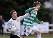 27 April 2013; Lee Murphy, left, and David Brown, Sheriff YC, celebrate at the end of the game. FAI Junior Cup Semi-Final, in association with Umbro and Aviva, Sheriff YC v Carew Park, Frank Cooke Park, Dublin. Picture credit: Paul Mohan / SPORTSFILE