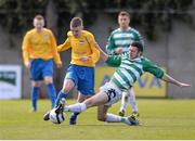 27 April 2013; Jonathan Somers, Carew Park, in action against Sean Murphy, Sheriff YC. FAI Junior Cup Semi-Final, in association with Umbro and Aviva, Sheriff YC v Carew Park, Frank Cooke Park, Dublin. Picture credit: Paul Mohan / SPORTSFILE
