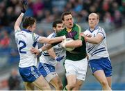 27 April 2013; Graham Reilly, Meath, in action against Eoin Duffy, Neil McAdam and Dick Clerkin, Monaghan. Allianz Football League Division 3 Final, Meath v Monaghan, Croke Park, Dublin. Picture credit: Oliver McVeigh / SPORTSFILE