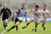 28 April 2013; Paul Mannion, Dublin, in action against PJ Quinn and Martin Penrose, Tyrone. Allianz Football League Division 1 Final, Dublin v Tyrone, Croke Park, Dublin. Picture credit: Oliver McVeigh / SPORTSFILE