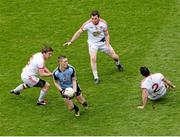28 April 2013; Paul Mannion, Dublin, in action against Tyrone players, from left, Dermot Carlin, Conor Gormley and PJ Quinn. Allianz Football League Division 1 Final, Dublin v Tyrone, Croke Park, Dublin. Picture credit: Stephen McCarthy / SPORTSFILE