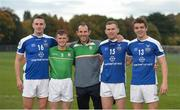 21 October 2017; Kildare representatives, from left, Mark Moloney, Chris Bonus, Tony Spain, physio, Dinny Stapleton, and David Reidy after the Shinty International match between Ireland and Scotland at Bught Park in Inverness, Scotland. Photo by Piaras Ó Mídheach/Sportsfile