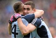28 April 2013; Paddy Andrews and James McCarthy, Dublin celebrates at the final whistle. Allianz Football League Division 1 Final, Dublin v Tyrone, Croke Park, Dublin. Picture credit: Oliver McVeigh / SPORTSFILE