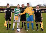 27 April 2013; Sheriff YC captain Paul Murphy and Carew Park captain Mark Keane shake hands before the start of the game. FAI Junior Cup Semi-Final, in association with Umbro and Aviva, Sheriff YC v Carew Park, Frank Cooke Park, Dublin. Picture credit: Paul Mohan / SPORTSFILE