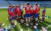 30 April 2013; Richie Hogan, Kilkenny hurler and manager of Belgrove Senior Boys, Clontarf, Co. Dublin, speaks to his team during half-time of the Corn Herald final at the Allianz Cumann na mBunscol Finals. Croke Park, Dublin. Picture credit: Paul Mohan / SPORTSFILE