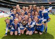 30 April 2013; The Mary Help of Christians GNS, Co. Dublin, players celebrate after winning the Sciath Bean Uí Phuirséil during the Allianz Cumann na mBunscol Finals. Croke Park, Dublin. Picture credit: Paul Mohan / SPORTSFILE