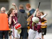 30 April 2013; Aoife Landers, left, and Hollie Byrne, Scoil Maelruain, Tallaght, Co. Dublin, celebrate after winning the Corn Olly Quinlan at the Allianz Cumann na mBunscol Finals. Croke Park, Dublin. Picture credit: Paul Mohan / SPORTSFILE