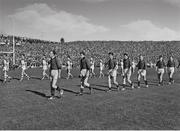 24 September 1961; The Down and Offaly teams during the pre-match parade. GAA Football All-Ireland Senior Championship Final, Offaly v Down, Croke Park, Dublin. Picture credit: Connolly Collection / SPORTSFILE