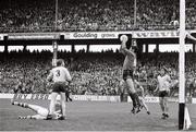 21 August 1977; Paddy Cullen, Dublin, catches the ball watched by team-mates Sean Doherty, 3, and Kevin Moran, right, and Sean Walsh, 14, Kerry. GAA Football All-Ireland Senior Championship Semi-Final, Dublin v Kerry, Croke Park, Dublin. Picture credit: Connolly Collection / SPORTSFILE