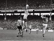 21 August 1977; Sean Doherty, Dublin, supported by team-mate Kevin Moran in action against Jack O'Shea, Kerry. GAA Football All-Ireland Senior Championship Semi-Final, Dublin v Kerry, Croke Park, Dublin. Picture credit: Connolly Collection / SPORTSFILE