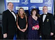 4 May 2013; Ciaran Daly, left, Sharon Grogan and Kate and Karl Burke in attendance at the annual Leinster Rugby Awards Ball which took place in the Mansion House, Saturday evening where Ian Madigan was awarded the Bank of Ireland Leinster Rugby Players' Player of the Year. Barry Murphy was the Master of Ceremonies on a successful sold out night which saluted an outstanding year for the game of rugby in Leinster, with music by The Bentley Boys and The Keynotes. For more information log on to www.leinsterrugby.ie. Leinster Rugby Awards Ball 2013, The Mansion House, Dublin. Picture credit: Brendan Moran / SPORTSFILE