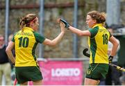 5 May 2013; Alex Speers, Railway Union, celerates after scoring the first goal of the game with team-mate Jean McDonnell, left. Electric Ireland Irish Hockey League Women's Final, Loreto Hockey Club v Railway Union, Three Rock Rovers Hockey Club, Grange Road, Rathfarnham, Dublin. Picture credit: Pat Murphy / SPORTSFILE
