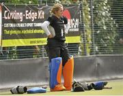 5 May 2013; Jessica Elliott, Loreto Hockey Club, shows her disappointment after Railway Union won the game after a one-on-one shoot-out. Electric Ireland Irish Hockey League Women's Final, Loreto Hockey Club v Railway Union, Three Rock Rovers Hockey Club, Grange Road, Rathfarnham, Dublin. Picture credit: Pat Murphy / SPORTSFILE