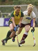 5 May 2013; Alex Speers, Railway Union, in action against Hannah Matthews, Loreto Hockey Club. Electric Ireland Irish Hockey League Women's Final, Loreto Hockey Club v Railway Union, Three Rock Rovers Hockey Club, Grange Road, Rathfarnham, Dublin. Picture credit: Pat Murphy / SPORTSFILE