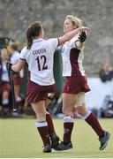 5 May 2013; Nikki Symmons, Loreto Hockey Club, celebrates after scoring a goal for her side with team-mate Lizzie Colvin, 12. Electric Ireland Irish Hockey League Women's Final, Loreto Hockey Club v Railway Union, Three Rock Rovers Hockey Club, Grange Road, Rathfarnham, Dublin. Picture credit: Pat Murphy / SPORTSFILE