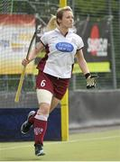 5 May 2013; Nikki Symmons, Loreto Hockey Club, celebrates after scoring in the shoot-out. Electric Ireland Irish Hockey League Women's Final, Loreto Hockey Club v Railway Union, Three Rock Rovers Hockey Club, Grange Road, Rathfarnham, Dublin. Picture credit: Pat Murphy / SPORTSFILE