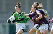 11 May 2013; Sarah Houlihan, Kerry, in action against Sinead Burke, Galway. TESCO HomeGrown Ladies National Football League, Division 2 Final, Kerry v Galway, Parnell Park, Donnycarney, Dublin. Picture credit: Brendan Moran / SPORTSFILE