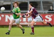 11 May 2013; Emer Flaherty, Galway, in action against Megan O'Connell, Kerry. TESCO HomeGrown Ladies National Football League, Division 2 Final, Kerry v Galway, Parnell Park, Donnycarney, Dublin. Picture credit: Brendan Moran / SPORTSFILE