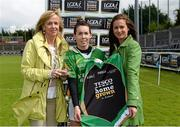 11 May 2013; Sarah Houlihan, Kerry, is presented with the Player of the Match award by Helen O'Rourke, left, Chief Executive, Ladies Gaelic Football Association, and Lynn Moynihan, Marketing Manager, TESCO HomeGrown Ireland. TESCO HomeGrown Ladies National Football League, Division 2 Final, Kerry v Galway, Parnell Park, Donnycarney, Dublin. Picture credit: Brendan Moran / SPORTSFILE