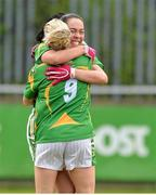 11 May 2013; Bernie Breen, left, and Aislinn Desmond, right, Kerry, celebrate victory after the game. TESCO HomeGrown Ladies National Football League, Division 2 Final, Kerry v Galway, Parnell Park, Donnycarney, Dublin. Picture credit: Barry Cregg / SPORTSFILE