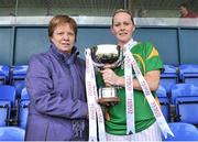 11 May 2013; Bernie Breen, Kerry, recieves the cup from Kathleen Kane, President of Connacht Ladies Football. TESCO HomeGrown Ladies National Football League, Division 2 Final, Kerry v Galway, Parnell Park, Donnycarney, Dublin. Picture credit: Barry Cregg / SPORTSFILE