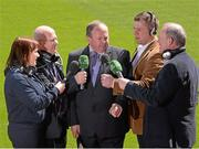 13 May 2013; RTÉ Raidió na Gaeltachta today launched its 2013 Championship coverage in Croke Park. The station enjoys full broadcast rights for all the matches in both football and hurling championships, an unrivalled position in the Irish media. RTÉ Raidió na Gaeltachta announced that it intends to broadcast up to 40 football matches, and more than 20 hurling games, with live commentary, reporting and analysis across its sports programmes. The station's sports schedule for the summer season into September includes 12 hours of sports programmes from Saturday to Monday, and will be enhanced by Monday sports programme Spórt an Luain presented by former Kerry intercounty footballer Dara Ó Cinnéide. In attendance at the announcement are, from left, Gearóidín Nic an Iomaire, Seán Bán Breathnach, Uachtarán Chumann Lúthchleas Gael Liam Ó Néill, Dara Ó Cinnéide, Séamus Mac Géidigh. Croke Park, Dublin. Picture credit: Ray McManus / SPORTSFILE
