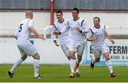 12 May 2013; Roy Long, second from right, Avondale United, celebrates with team-mates, from left, Mark Horgan, Danny Long and Karl Caulfield after scoring his side's second goal.  FAI Umbro Intermediate Cup Final, Bluebell United v Avondale United, Richmond Park, Dublin. Picture credit: Brian Lawless / SPORTSFILE