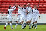 12 May 2013; Kevin Mulchahy, Avondale United, third from left, celebrates with team-mates after scoring his side's fourth goal.  FAI Umbro Intermediate Cup Final, Bluebell United v Avondale United, Richmond Park, Dublin. Picture credit: Brian Lawless / SPORTSFILE