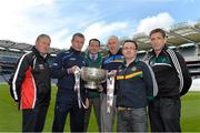 14 May 2013; In attendance at the launch of the 2013 Leinster GAA Senior Championships are, from left, Bernie Murray, Louth selector, Justin McNulty, Laois manager, Mick O'Dowd, Meath manager, Glen Ryan, Longford manager, Emmet McDonald, Offaly manager, and Kieran McGeeney, Kildare manager. Croke Park, Dublin. Picture credit: Brian Lawless / SPORTSFILE