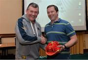 16 May 2013; Munster's Marcus Horan, who is leaving the club at the end of this season, is presented with his 200th cap by team manager Niall O'Donovan. Munster Rugby End-of-Season Gathering 2013, Castletroy Park Hotel, Limerick. Picture credit: Diarmuid Greene / SPORTSFILE