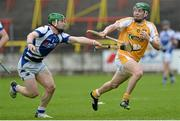 18 May 2013; Paul Shiels, Antrim, in action against Cahir Healy, Laois. Leinster GAA Hurling Senior Championship, First Round, Laois v Antrim, O'Moore Park, Portlaoise, Co. Laois. Picture credit: Diarmuid Greene / SPORTSFILE