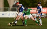 21 October 2017; Conor Lehane of Ireland in action against John Barr, left, and Mark MacDonald of Scotland during the Shinty International match between Ireland and Scotland at Bught Park in Inverness, Scotland. Photo by Piaras Ó Mídheach/Sportsfile