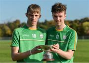 21 October 2017; Kildare representatives Jack Sheridan, left, and Eoin O'Hehir with the cup after the U21 Shinty International match between Ireland and Scotland at Bught Park in Inverness, Scotland. Photo by Piaras Ó Mídheach/Sportsfile
