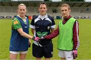 11 May 2013; Kerry captain Bernie Breen shakes hands with Galway captain Sinead Burke in the company of referee Maggie Farrelly. TESCO HomeGrown Ladies National Football League, Division 2 Final, Kerry v Galway, Parnell Park, Donnycarney, Dublin. Picture credit: Brendan Moran / SPORTSFILE