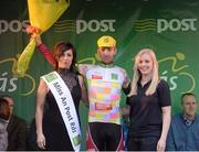 24 May 2013; Martin Hunal, AC Sparta Praha, is presented with the King of the Mountains jersey by Miss An Post Rás Cora Brennan and Melissa Flanagan, Corporate Sales, after stage 6 of the 2013 An Post Rás. Mitchelstown – Carlow. Picture credit: Paul Mohan / SPORTSFILE