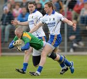 26 May 2013; Damien Sheridan, Longford, in action against Austin O'Malley, right, and Seanie Furlong, Wicklow. Leinster GAA Football Senior Championship, First Round, Wicklow v Longford, County Grounds, Aughrim, Co. Wicklow. Picture credit: Matt Browne / SPORTSFILE