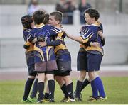 26 May 2013; The Ballinasloe, Co. Galway, team, of Adam McGreal, Shane Fitzpatrick, John Devine, Tom Fitzpatrick, Eoin Colleran, Evan Hayes, Josh Dolan, Cathal O'Hanlon, Luke Feehily, Luke Walsh, Adam Potter, Joseph Carry celebrate at the end of the game after victory over Lurgan, Co. Cavan, in the Mini Rugby mixed U11 competition. Community Games May Festival 2013, Athlone Institute of Technology, Athlone, Co. Westmeath. Picture credit: Pat Murphy / SPORTSFILE