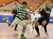 27 May 2013; Sergei Musteata, Shamrock Rovers, in action against Isaias Lima, Eden College. FAI Futsal Cup Final, Shamrock Rovers v Eden College, National Basketball Arena, Tallaght, Dublin. Picture credit: Barry Cregg / SPORTSFILE