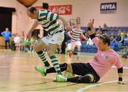 27 May 2013; Alex Gutu, Shamrock Rovers, in action against Elias Junior, Eden College. FAI Futsal Cup Final, Shamrock Rovers v Eden College, National Basketball Arena, Tallaght, Dublin. Picture credit: Barry Cregg / SPORTSFILE