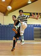 27 May 2013; Sergei Musteata, Shamrock Rovers, in action against Rafael Souto, Eden College. FAI Futsal Cup Final, Shamrock Rovers v Eden College, National Basketball Arena, Tallaght, Dublin. Picture credit: Barry Cregg / SPORTSFILE
