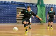 27 May 2013; Rodrigo De Melo, Eden College, shoots to score his side's fourth goal from a penalty. FAI Futsal Cup Final, Shamrock Rovers v Eden College, National Basketball Arena, Tallaght, Dublin. Picture credit: Barry Cregg / SPORTSFILE