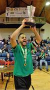 27 May 2013; Eden College captain Badr Bouznig lifts the cup. FAI Futsal Cup Final, Shamrock Rovers v Eden College, National Basketball Arena, Tallaght, Dublin. Picture credit: Barry Cregg / SPORTSFILE