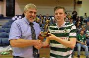 27 May 2013; Ian Byrne, Shamrock Rovers, receives the player of the tournament trophy from Noel Fitroy, Vice-Chairman of FAI Junior Council, after the game. FAI Futsal Cup Final, Shamrock Rovers v Eden College, National Basketball Arena, Tallaght, Dublin. Picture credit: Barry Cregg / SPORTSFILE