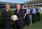 30 May 2013; WPFG Chair and PSNI Deputy Police Constable Judith Gillespie, left, and Uachtarán Chumann Lúthchleas Gael Liam Ó Néill, with from left, Tom Sheridan, handball, Meath, Emlyn Mulligan, football, Leitrim, Eamonn O'Callaghan, football, Kildare, Denis Glennon, football, Westmeath, Peter Turley, Down, and David Clarke, football, Mayo, at Croke Park. WPFG organisers were at GAA headquarters to meet officers representing the Garda, Irish Fire Services, Prison, Customs and Coastguard Services to profile opportunities for competitors and spectators at this year's World Police and Fire Games. The Games, a biennial event for serving and retired police, fire, prison and border security officers will take place in Northern Ireland from 1st-10th of August. Visit www.2013wpfg.com for more information. Croke Park, Dublin. Picture credit: Brian Lawless / SPORTSFILE