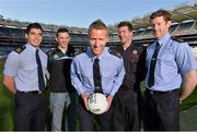 30 May 2013; Senior county footballers, from left, Emlyn Mulligan, Leitrim, Eamonn O'Callaghan, Kildare, Denis Glennon, Westmeath, Peter Turley, Down, and David Clarke, Mayo, at Croke Park. WPFG organisers were at GAA headquarters to meet officers representing the Garda, Irish Fire Services, Prison, Customs and Coastguard Services to profile opportunities for competitors and spectators at this year's World Police and Fire Games. The Games, a biennial event for serving and retired police, fire, prison and border security officers will take place in Northern Ireland from 1st-10th of August. Visit www.2013wpfg.com for more information. Croke Park, Dublin. Picture credit: Brian Lawless / SPORTSFILE