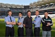 30 May 2013; Senior county footballers, from left, David Clarke, Mayo, Emlyn Mulligan, Leitrim, Peter Turley, Down, Denis Glennon, Westmeath, and Eamonn O'Callaghan, Kildare, at Croke Park. WPFG organisers were at GAA headquarters to meet officers representing the Garda, Irish Fire Services, Prison, Customs and Coastguard Services to profile opportunities for competitors and spectators at this year's World Police and Fire Games. The Games, a biennial event for serving and retired police, fire, prison and border security officers will take place in Northern Ireland from 1st-10th of August. Visit www.2013wpfg.com for more information. Croke Park, Dublin. Picture credit: Brian Lawless / SPORTSFILE