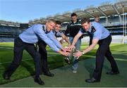30 May 2013; Senior county footballers, from left, Denis Glennon, Westmeath, Emlyn Mulligan, Leitrim, Eamonn O'Callaghan, Kildare, and David Clarke, Mayo, at Croke Park. WPFG organisers were at GAA headquarters to meet officers representing the Garda, Irish Fire Services, Prison, Customs and Coastguard Services to profile opportunities for competitors and spectators at this year's World Police and Fire Games. The Games, a biennial event for serving and retired police, fire, prison and border security officers will take place in Northern Ireland from 1st-10th of August. Visit www.2013wpfg.com for more information. Croke Park, Dublin. Picture credit: Brian Lawless / SPORTSFILE