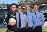 30 May 2013; Senior county footballers, from left, Eamonn O'Callaghan, Kildare, Emlyn Mulligan, Leitrim, Denis Glennon, Westmeath, and David Clarke, Mayo, at Croke Park. WPFG organisers were at GAA headquarters to meet officers representing the Garda, Irish Fire Services, Prison, Customs and Coastguard Services to profile opportunities for competitors and spectators at this year's World Police and Fire Games. The Games, a biennial event for serving and retired police, fire, prison and border security officers will take place in Northern Ireland from 1st-10th of August. Visit www.2013wpfg.com for more information. Croke Park, Dublin. Picture credit: Brian Lawless / SPORTSFILE