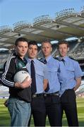 30 May 2013 Senior county footballers, from left, Eamonn O'Callaghan, Kildare, Emlyn Mulligan, Leitrim, Denis Glennon, Westmeath, and David Clarke, Mayo, at Croke Park. WPFG organisers were at GAA headquarters to meet officers representing the Garda, Irish Fire Services, Prison, Customs and Coastguard Services to profile opportunities for competitors and spectators at this year's World Police and Fire Games. The Games, a biennial event for serving and retired police, fire, prison and border security officers will take place in Northern Ireland from 1st-10th of August. Visit www.2013wpfg.com for more information. Croke Park, Dublin. Picture credit: Brian Lawless / SPORTSFILE